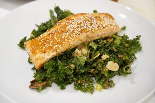 Low-Carb Pan Seared Salmon & Kale Salad