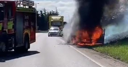 Road closed as car bursts into flames on busy A6 near Derby