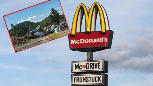 McDonald's: Helfer geht nach Einsatz bei Flut-Katastrophe in Filiale essen - was ihn dort erwartet, kann er kaum glauben