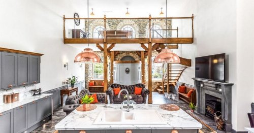 Converted chapel comes with its own parking turntable and outdoor fireplace