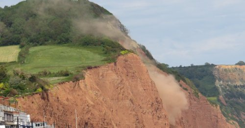 Sidmouth's notorious crumbling cliffs crash down yet again