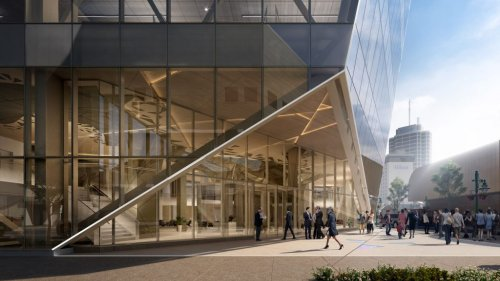 Perkins&Will redesigns earthquake-damaged office in Alaska to evoke glacier