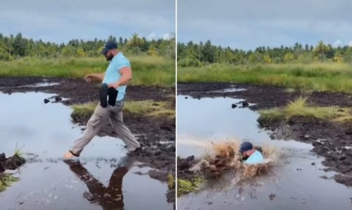 Guy Attempts To Walk Across This Muddy Swamp, Takes A Cartoonish Plunge - Digg