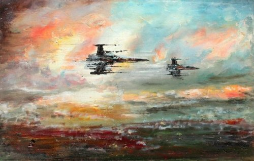 Artist Creates Original 'Star Wars'-Themed Oil Paintings And It's Like If Bob Ross Had Discovered The Force