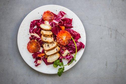 Blutorangen und Radicchio Salat mit Sesamhuhn - Dinner um Acht