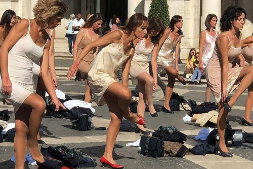 Italian Flight Attendants Stage Protest In Central Rome