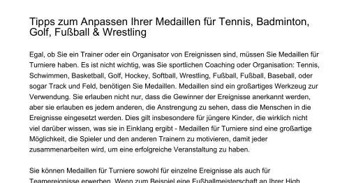 Tipps zum Anpassen Ihrer Medaillen für Tennis Badminton Golf Fußball Wrestlingtpqyn.pdf.pdf