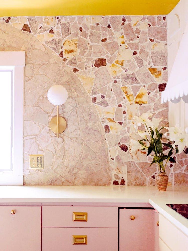 A $150 Kitchen Backsplash Crafted From Broken Marble Remnants