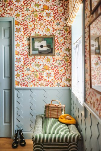 Geometric Wainscoting and Floral Wallpaper Amp Up a Previously Boring Bathroom