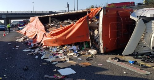M50 closed for hours after truck overturns leading to traffic chaos