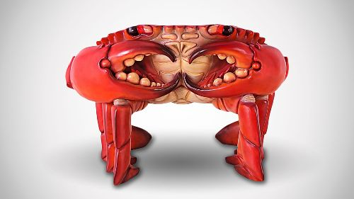 Giant Red King Crab Sculptural Chair