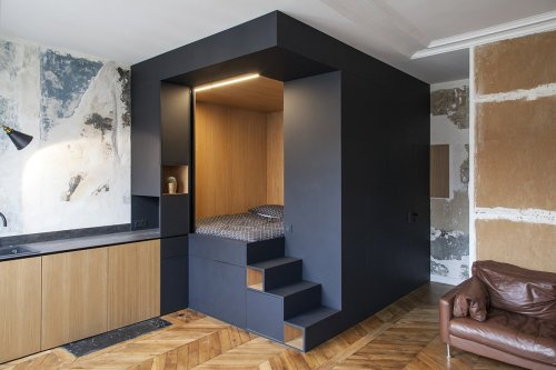 Photo 1 of 9 in A Multipurpose Bedroom Box Is This Tiny Apartment's…