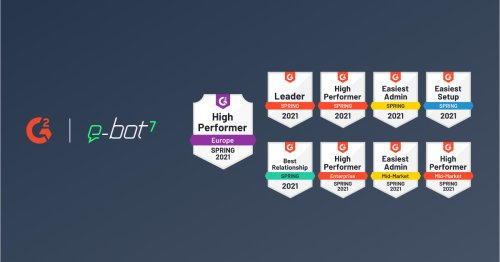 e-bot7 is awarded nine times by G2 and rated the Leader in Intelligent Virtual Assistants - e-bot7