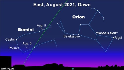 EarthSky   Moon and Gemini stars at dawn August 5 and 6