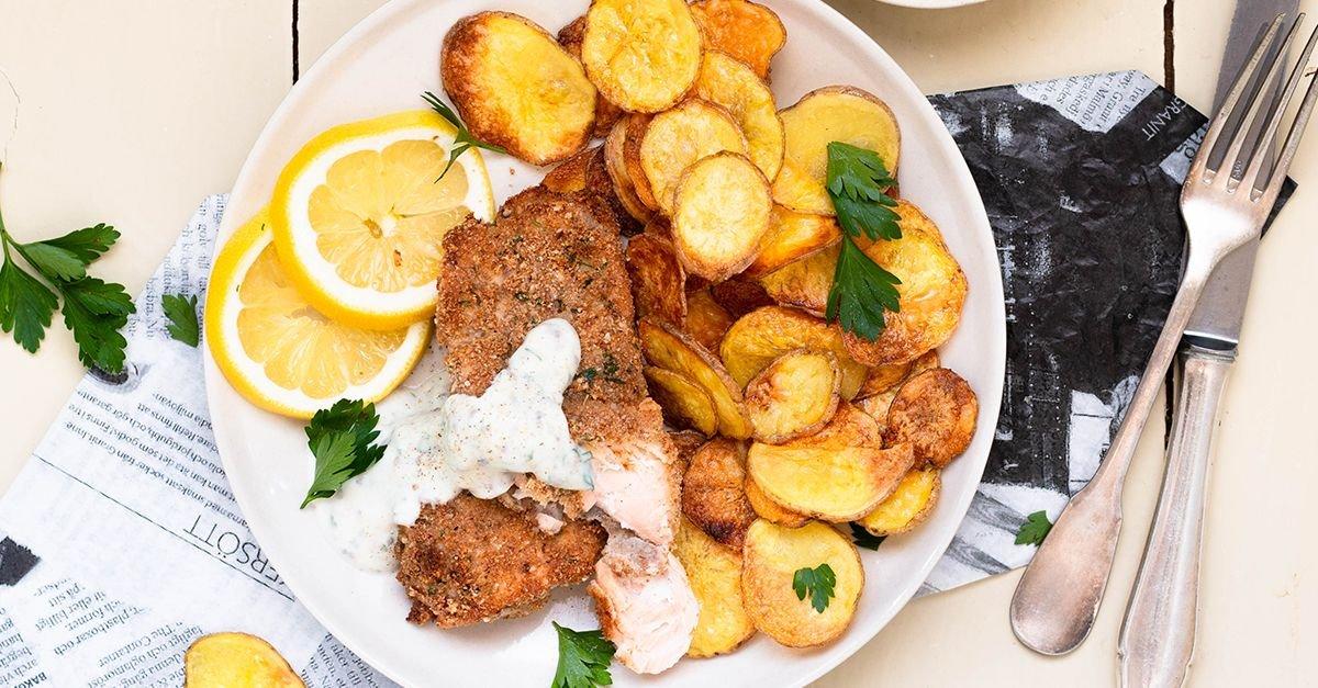 Smarte Fish and Chips mit Joghurt-Dip