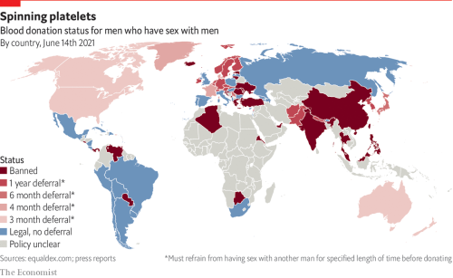 Which countries prohibit gay or bisexual men from donating blood?