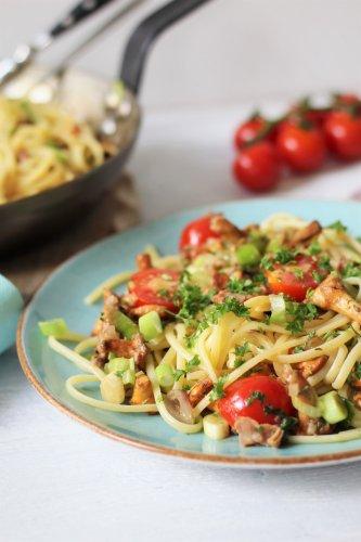Pfifferlings-Pfanne mit Spaghetti