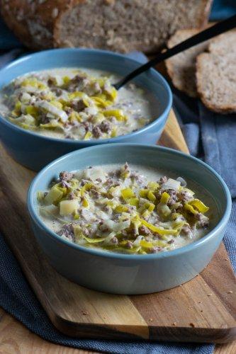Geniale Käse Lauch Hackfleisch Suppe in nur 20 Minuten