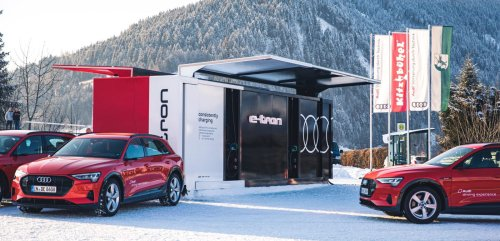 Take a look at Audi's crazy container electric car charging system with batteries - Electrek