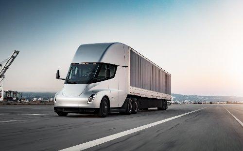 Tesla Semi trucks in electric log hauling project on Vancouver Island