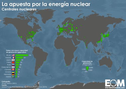 El mapa de las centrales nucleares en el mundo - Mapas de El Orden Mundial - EOM