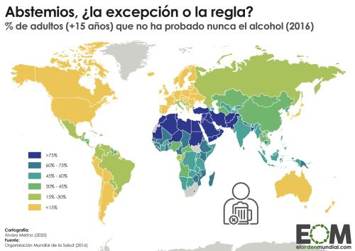 El porcentaje de abstemios en el mundo - Mapas de El Orden Mundial - EOM