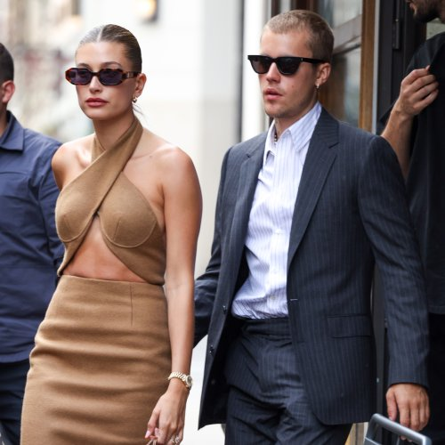 Justin and Hailey Bieber Go Glam for Surprise Meeting With French President Emmanuel Macron