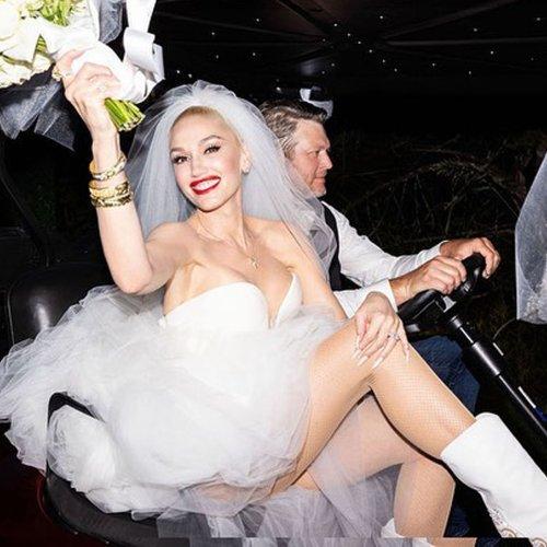 How Gwen Stefani's Wedding Dresses Honored Blake Shelton and Her 3 Kids