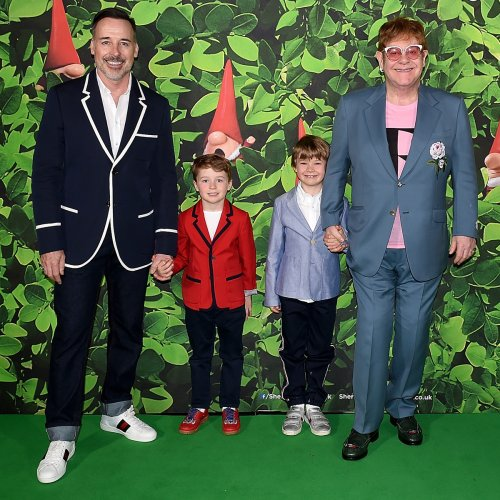 Elton John, David Furnish and Their Sons Twin in Versace for Rare Family Photo