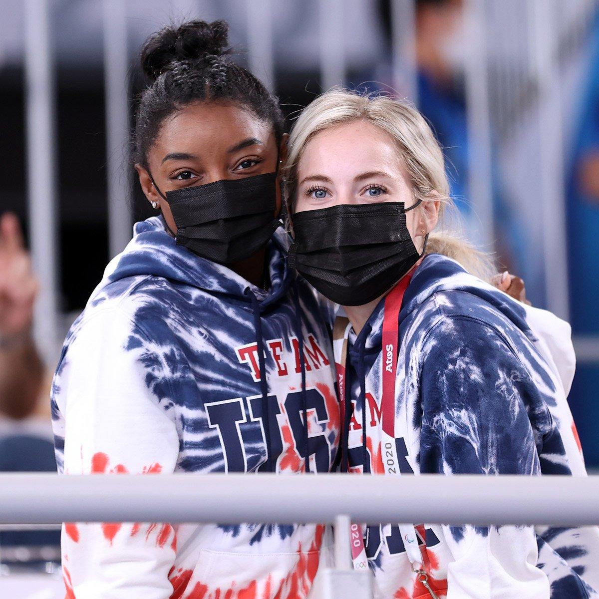Simone Biles and MyKayla Skinner Support Team USA at Men's Gymnastics Final