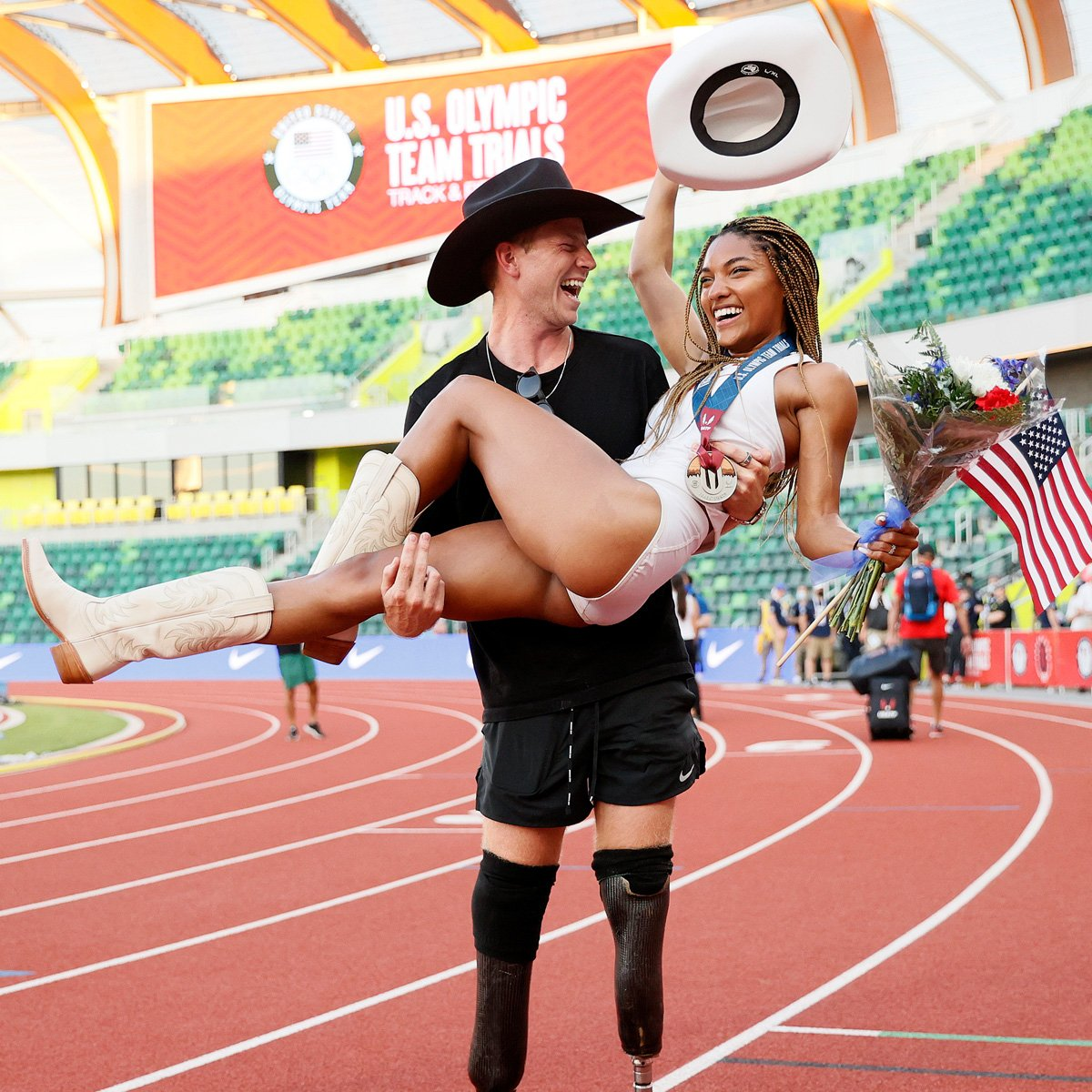 How Olympic Track Stars Tara Davis and Hunter Woodhall Ran Away With Each Other's Hearts
