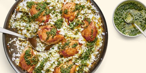 Chicken and Rice With Leeks and Salsa Verde