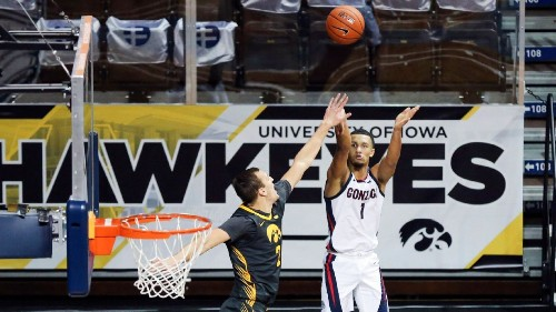 Top-ranked Gonzaga Bulldogs top No. 3 Iowa Hawkeyes in first game since Dec. 2