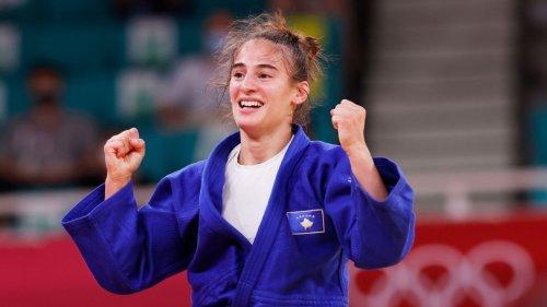 Judoka Nora Gjakova wins gold in women's 57 kilogram on mourning day for Kosovo