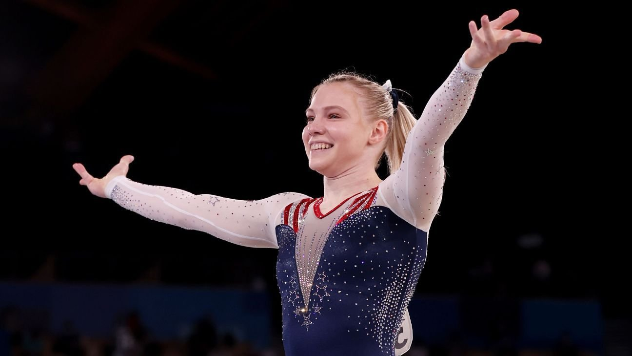 Jade Carey of United States wins Olympic women's gymnastics gold in floor exercise