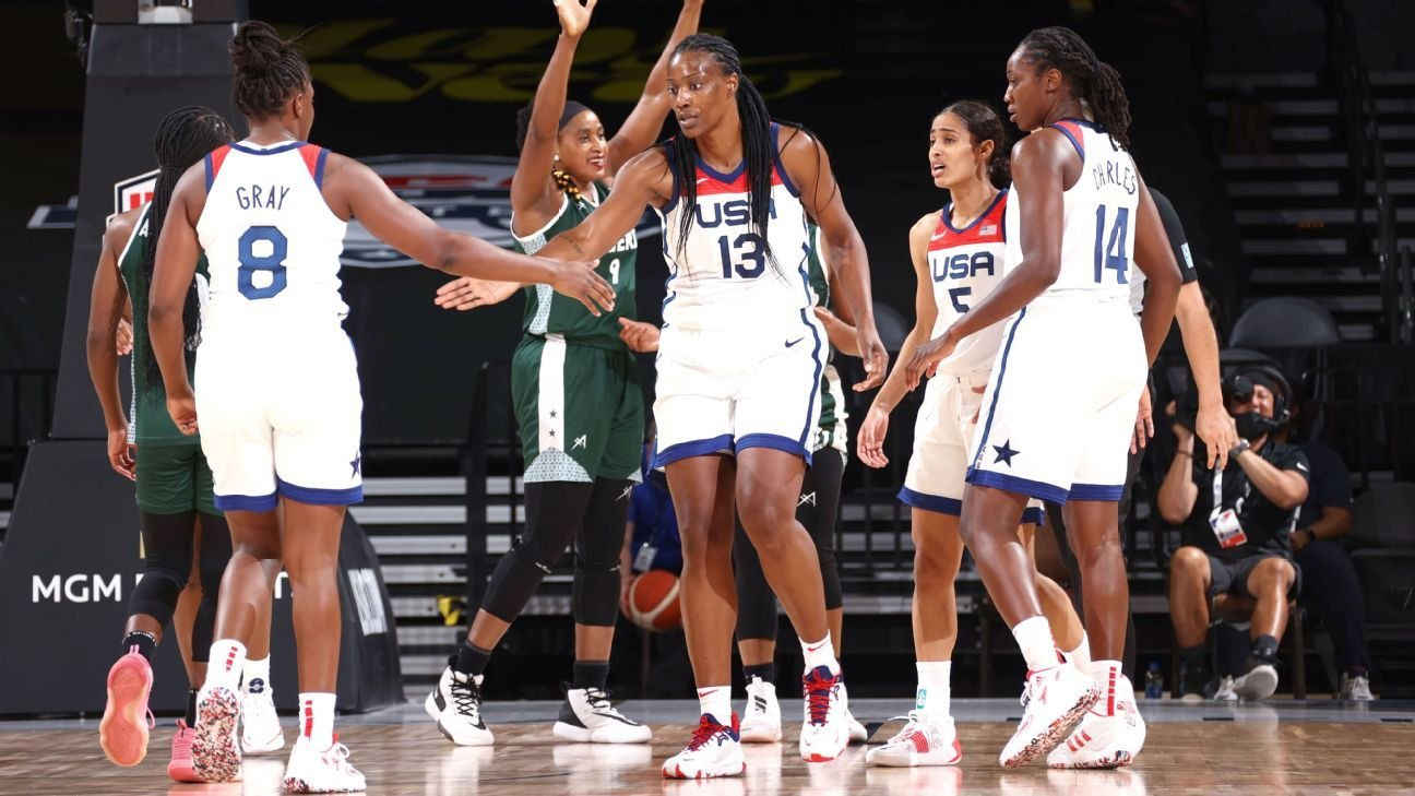 U.S. women's basketball team earns first exhibition win, routs Nigeria