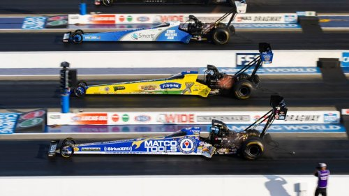John and Brittany Force sweep NHRA nitro classes in qualifying for NHRA Four-Wide Nationals