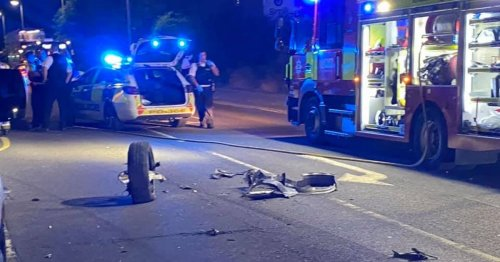Parked cars damaged and destroyed as police chase ends in crash