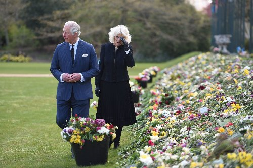 Charles And Camilla Make Emotional Appearance To View Tributes Left For Prince Philip