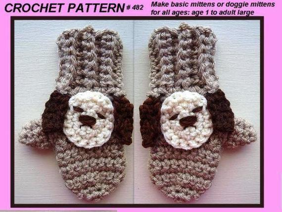 CROCHET PATTERN MITTENS doggie mittens pattern no 482 kid | Etsy