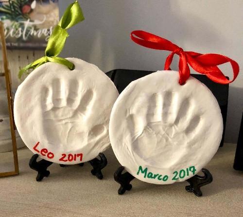Clay hand and footprint ornament keepsake