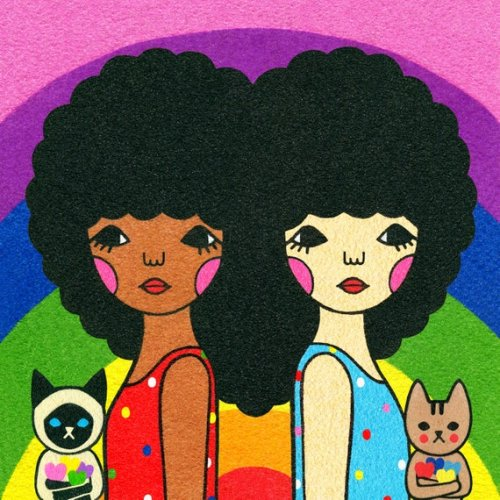 Adorable brightly-colored digital print