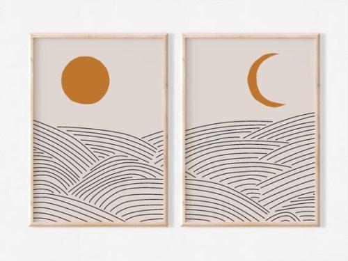 Japandi Sun and Moon Printable Wall Art Set of 2