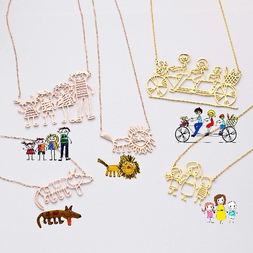 Necklace designed from children's drawings