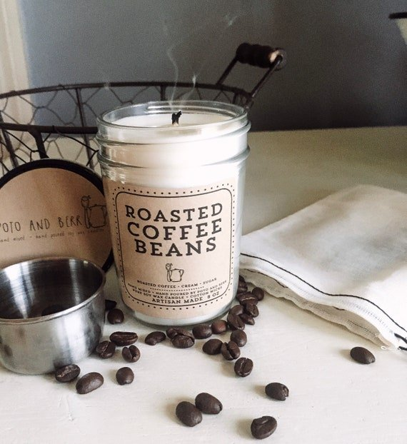 Unique candle that smells like roasted coffee beans