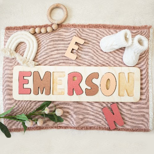 Wooden name puzzle for toddlers