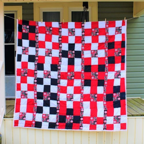 Black and red checkered quilt