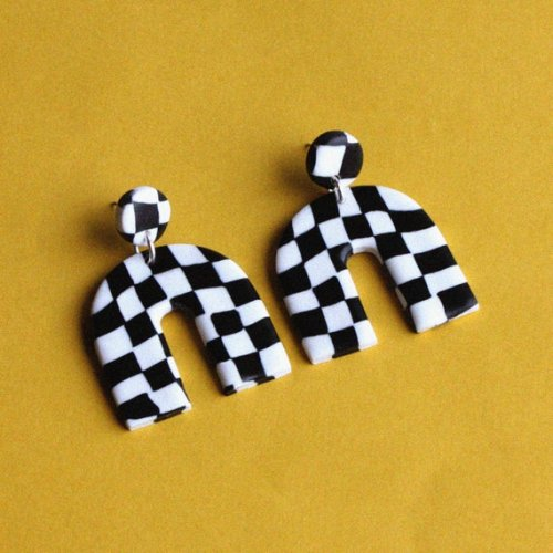 Large black and white checkerboard earrings