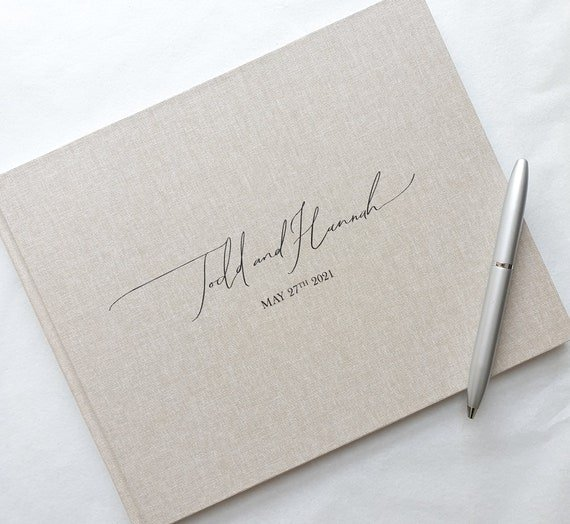 Simple personalized wedding guest book