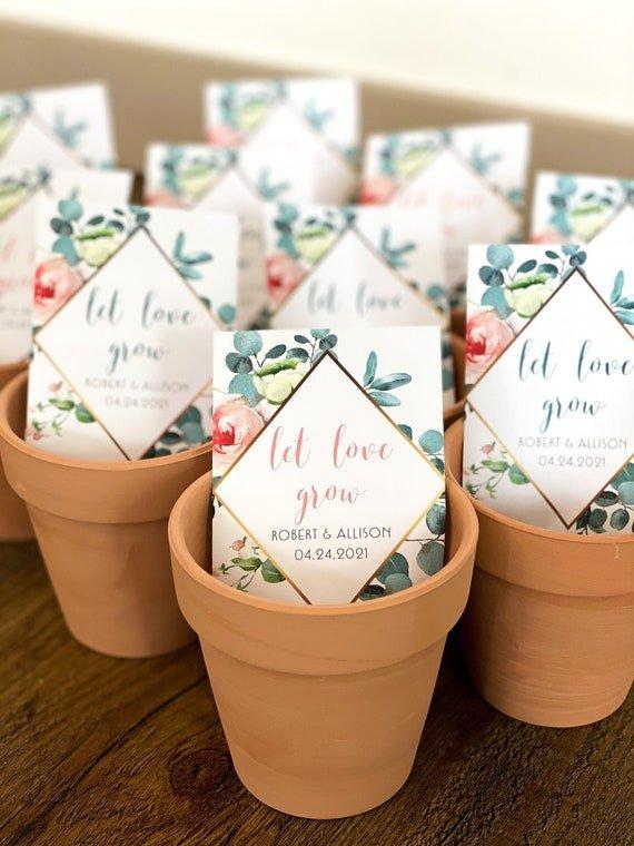 """Let Love Grow"" wedding favors"